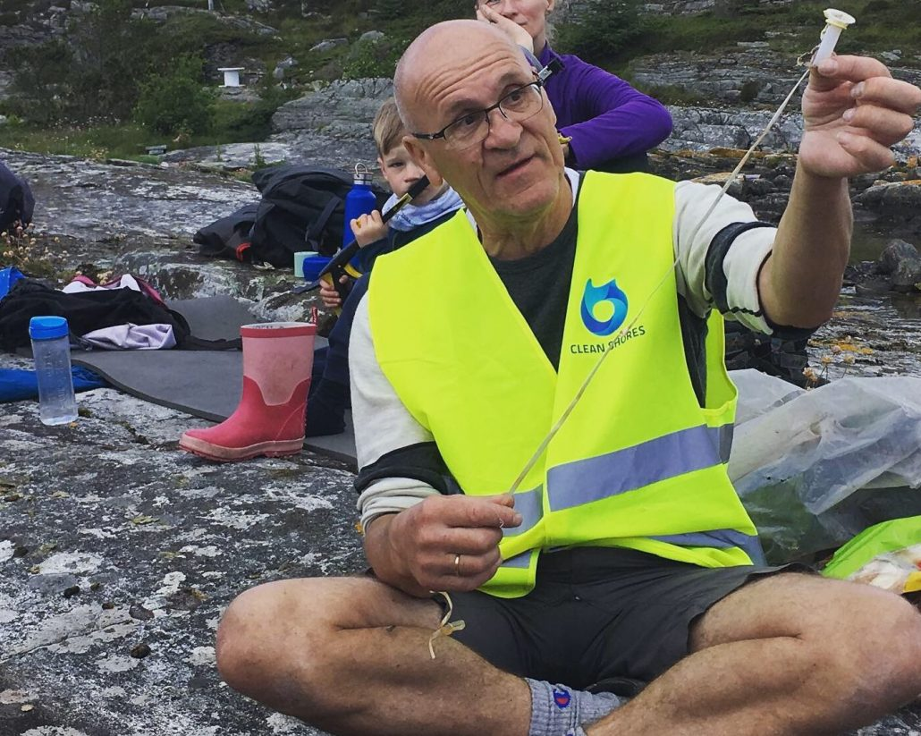 Rune Gaasø of Clean Shores Bergen with plastic litter from a helium balloon found on a beach.